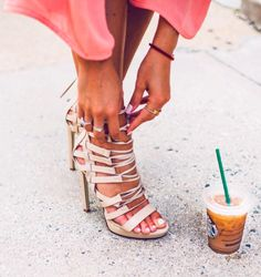 strappy heels + starbucks