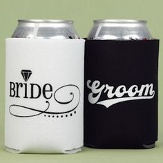 Bride and Groom Can Koozies (Hortense B Hewitt 11045) | Buy at Wedding Favors Unlimited (http://www.weddingfavorsunlimited.com/bride_and_groom_can_koozies.html).