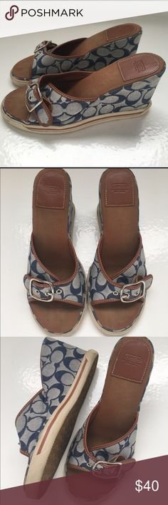 Ladies Coach wedge sandals sz 9.5B Beautiful ladies Coach wedge sandals. These have the Coach C pattern in blue with brown leather accents and silver buckle. Lovingly worn but recently cleaned and ready to add to your wardrobe! 😊 Coach Shoes Wedges