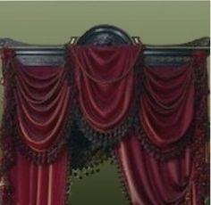Portiére with decorative valance treatment