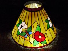 Stained Glass Lamp Ceiling Shade Tiffany Styl SLAG GLASS Beads Butterfly Flowers