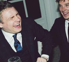 The bromance between Benedict Cumberbatch and Martin Freeman is amazing love their friendship ^_^ Sherlock Bbc, Benedict Cumberbatch Sherlock, Jim Moriarty, Sherlock Quotes, Martin Freeman, Tom Hiddleston, Imitation Game, Benedict And Martin, John Martin