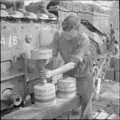 40lb bombs as used by the 29cm Petard spigot mortar on a Churchill AVRE of 79th Squadron, 5th Assault Regiment, Royal Engineers, under command of 3rd Infantry Division, 29th April 1944.