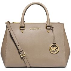 MICHAEL Michael Kors Sutton Medium Satchel Bag ($270) ❤ liked on Polyvore featuring bags, handbags, dark dune, monogrammed purses, satchel purses, tote handbags, monogram tote and brown purse
