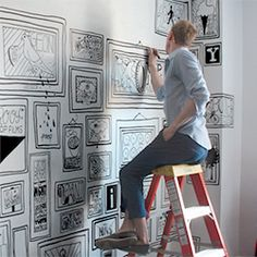 Artist Timothy Goodman tells a NYC story through his hand drawn 'wallpaper.'