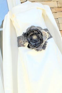 Statement Bridal Belt Wedding Dress Sash Charcoal by MakeBelieveN, $185.00