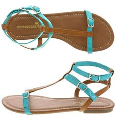 Women's Gladiator Flat by Montego Bay Club for Payless. I like the blue on… Turquoise Sandals, Evan, Gladiator Flats, Montego Bay, Shoe Closet, Girls Shoes, Wedding Shoes, Fancy, Club