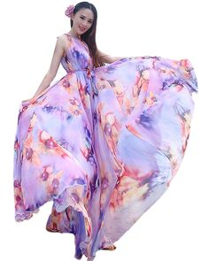 02d9cc981049 Amazon.com  Medeshe Women s Chiffon Floral Holiday Beach Bridesmaid Maxi  Dress Sundress  Clothing