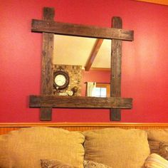 Mirror framed with palet wood