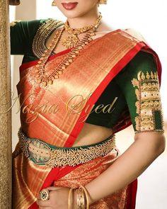 40 Heavy Maggam work Bridal Blouse design for your wedding - Wedandbeyond Pattu Saree Blouse Designs, Bridal Blouse Designs, Saree With Belt, Saree Belt, Blouse Models, Indian Designer Wear, Ideias Fashion, Saree Wedding, Wedding Bride