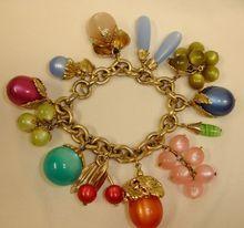 Vintage Napier Lucite Fruit Charm Bracelet