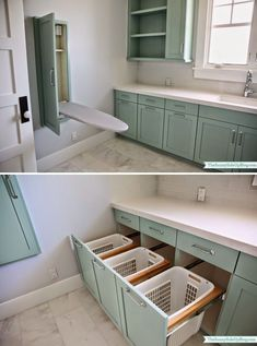 Drop down iron board and pull out baskets - Home Decorating Trends - Homedit Laundry Room Layouts, Laundry Room Remodel, Small Laundry Rooms, Laundry Closet, Laundry Decor, Laundry Room Organization, Laundry Room Design, Decor Around Tv, Laundy Room