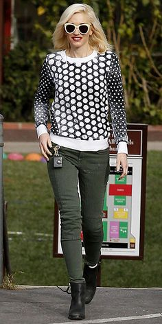 Gwen Stefani wearing the Michael Kors Dotted Knit Pullover. Los Angeles, February 2013