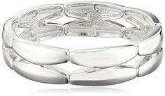 """Napier """"Napier Classics"""" Silver-Tone Sectional Stretch Bracelet, 8"""" -- Learn more by visiting the image link. (This is an affiliate link) #WomenBracelets"""