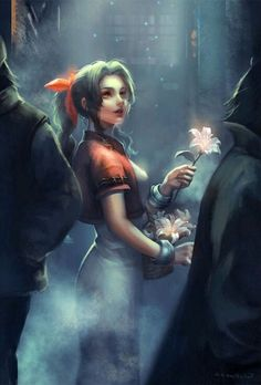 "theomeganerd: "" Final Fantasy VII Aeris by Felix Liu "" Final Fantasy Vii Remake, Artwork Final Fantasy, Final Fantasy Characters, Video Game Characters, Female Characters, Game Of Thrones Characters, Fictional Characters, Tomb Raiders, Gurren Lagann"