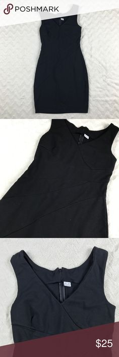 Three Dots Seamed Black Ponte Knit Sheath Dress Three dots black seamed sleeveless dress in women's size medium   Please note:  Dress runs small. Has some stretch but not a lot. Missing hook and eye. Otherwise good condition   Measurements (taken with garment laying flat):   Armpit-to-armpit: 13.5 inches   Shoulder to hem length: 32.5 inches Three Dots Dresses Mini