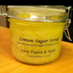 Gifts for my boys' teachers for Valentines day! EVOO, lemon juice, lemon extract and sugar! Jars are from Hobby Lobby and were $1.99 each.  Labels are just clear address labels I printed on.  Happy sugar scrubbing!