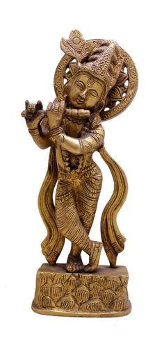 An Exquisite Detailed Indian Religious God Krishna Brass Idol Sculpture Statue Brass Sculpture Of Indian God krishna. Detailed statue made from brass. Kali Statue, Saraswati Statue, Lord Shiva Statue, Krishna Statue, Sculptures, Lion Sculpture, Brass Statues, Durga Goddess, Religious Gifts