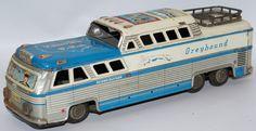 Vintage Tin Friction Greyhound Bus Scenicruiser Express Travel USA #3446, HTC (Japan)