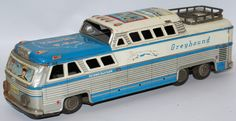 Vintage Tin Friction Greyhound Bus Scenicruiser Express Travel USA #3446, HTC (Japan)