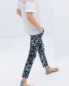 TECHNICAL PRINT FABRIC TROUSERS - Trousers - WOMAN | ZARA Serbia