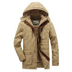 Jeep Chariot Thicker Men Jacket Winter Mens Long Coat Male Fashion Casual Cotton Long Jacket 3 Color at Banggood