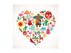 Mexico love - heart with set of vector illustrations. Free art print of Mexico love - heart with set of vector icons. Mexico Country, Mexican Independence Day, Mexican Designs, Mexican American, Mexican Men, Mexican Party, Thinking Day, Love Heart, Vector Art