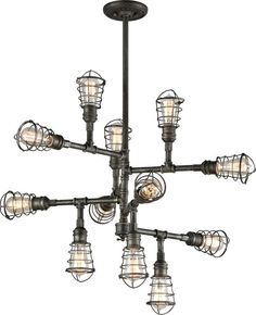 Buy the Troy Lighting Old Silver Direct. Shop for the Troy Lighting Old Silver Conduit 12 Light Industrial Chandelier with Wire Cages and save. Pipe Lighting, Troy Lighting, Chandelier Lighting, Chandelier Ideas, Sputnik Chandelier, Chandeliers, Conduit Lighting, Industrial Chandelier, Industrial Lighting
