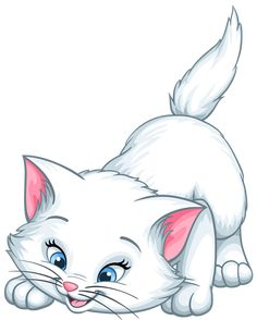 White Kitten Cartoon PNG Clip Art Image