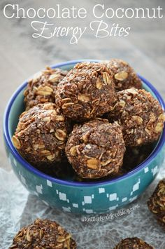 These no-bake, naturally sweetened Chocolate Coconut Energy Bites are a great snack to help you power through the afternoon. Full of good for you foods like chia seeds and flaxseed meal, they're gluten free and a healthier and delicious snack option.
