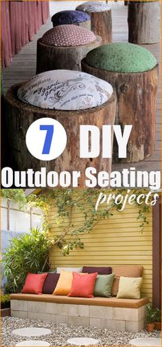 7 Outdoor Seating Projects. Spruce up your deck or patio with these outdoor benches and chairs. Repurpose tree stumps and cinder blocks into a cool addition to your yard.