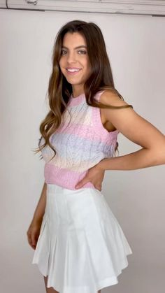 Hollywood Model, Rainbow Sweater, Valley Girls, Pleated Skirts, White Mini Dress, Pretty Pictures, Dress To Impress, Vip, Preppy