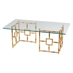 Dessau Home // Antique Gold Bamboo Float Coffee Table