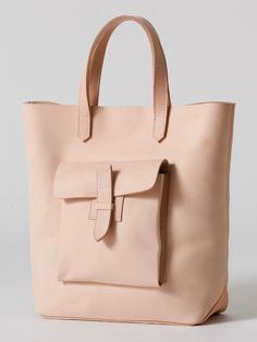 Sturdy Leather Tote, handmade natural leather will darken with the use of mink's oil in about six months, from American Apparel