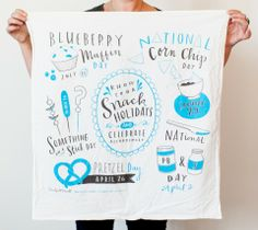 Wonderful line of printed dish towels and stuff...  Snack Holidays Dish Towel