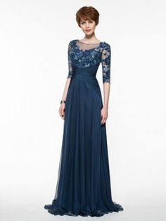 Half Sleeves Illusion Neckline Lace Appliques Chiffon Mother of The Bride Dresses 99605005 Half Sleeve Wedding Dress, Half Sleeve Dresses, Mob Dresses, Gala Dresses, Dresses With Sleeves, Half Sleeves, Pageant Dresses, Mother Of The Bride Dresses Long, Mothers Dresses