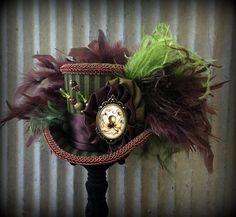 Steampunk - Mini Top Hat Octopus Steampunk Mini Top Hat Alice in Wonderland Hat Mad Hatter Hat Olive Green STripe Hat Kraken Hat Ridging hat by ChikiBird