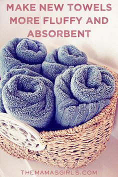 Make new towels more fluffy and absorbent Wash them in the hottest water with 1 cup white vinegar. During the rinse cycle, when the washer has filled with the rinse water, add 1/2 c. baking soda and continue the rinse cycle as usual.