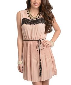Take a look at the Beige & Black Lace Sleeveless Dress on #zulily today!