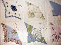 quilt...the butterflies are made from old vintage hankerchiefs ... : hanky quilt pattern - Adamdwight.com