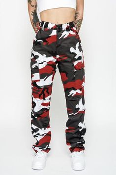 Cherry Red Camo Cargo Pants - Cherry Red Camo Cargo Pants – Goodbye Bread Source by - Camo Pants Outfit, Camo Outfits, Cute Swag Outfits, Trendy Outfits, Camo Clothes, Tomboy Fashion, Teen Fashion Outfits, Outfits For Teens, Womens Fashion