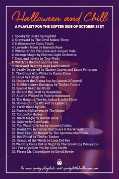 Halloween and chill? Here are 30 songs perfect for the softer side of October Grab a cup of pumpkin spice coffee curl up with a spooky book and enjoy. Halloween Playlist, Halloween Songs, Halloween 2019, Holidays Halloween, Happy Halloween, Halloween Decorations, Halloween Party, Halloween Costumes, Halloween Centerpieces