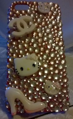 For Apple Pink White Rigid Plastic 3D Handmade Rhinestones iphone5 5s Phone Case
