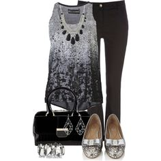 A fashion look from April 2013 featuring sequined tanks, woven pants and Salvatore Ferragamo. Browse and shop related looks. Urban Fashion, Fashion Looks, Womens Fashion, Dressy Outfits, Cute Outfits, Jean Outfits, Work Outfits, Religion Clothing, Women's Clothing