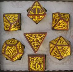 Steampunk Brown & Yellow Dice Set