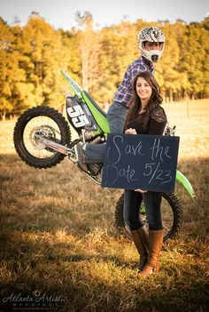 Fun engagement photography / save the date photo with dirt bike and motorcycle stunts! by www.atlantaartisticweddings.com