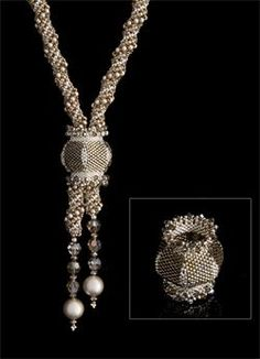 Japanese Lantern - necklace by Nancy Cain. Seed Bead Necklace, Seed Bead Jewelry, Bead Jewellery, Beaded Necklaces, Beaded Jewelry Designs, Handmade Jewelry, Jewelry Crafts, Jewelry Art, Braids With Beads