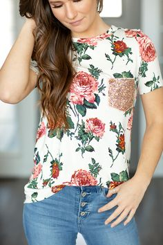 Guide Me Home White Floral Top With Sequin Pocket – Ivory Gem