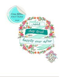And They Lived Happily Ever After Floral Banner Typography Cross Stitch Pattern. Digital Download PDF.