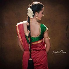 Traditional South Indian bride's bridal braid hair. Hairstyle by Swank Studio. Find us at https://www.facebook.com/SwankStudioBangalore #Saree #Blouse #Design